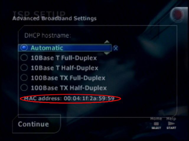 Image showing a screenshot for ps21 advanced broadband settings screen