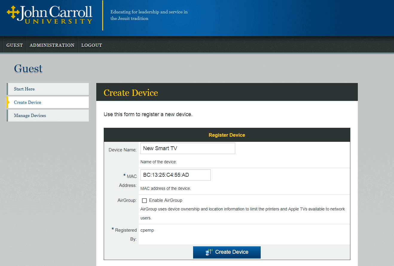 screenshot of the create device page