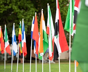 Image of international flags representing the countries are students hail from