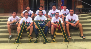 group of males holding a fraternity sign