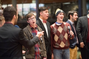 male students singing