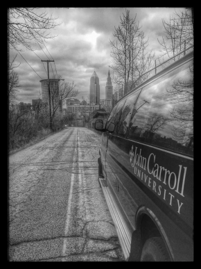 black and white JCU van