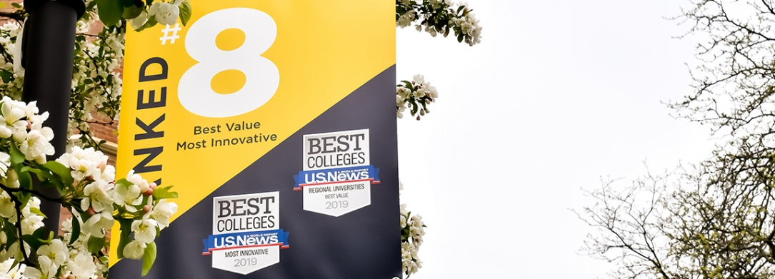Banner hanging on campus about being a #8 Best Value by U.S. News & World Report