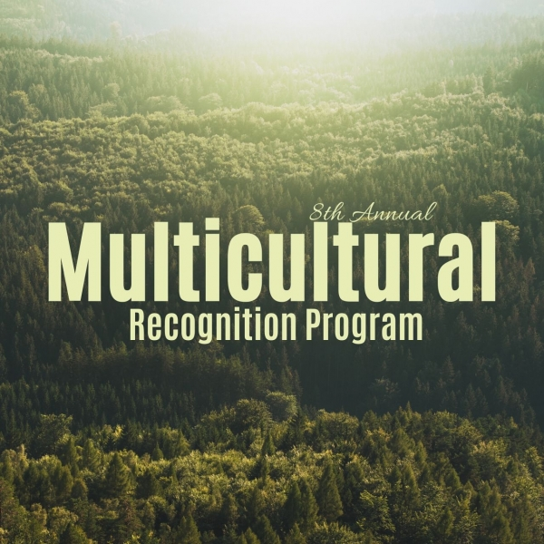 View of the sunset over the forrest with an overlay text that reads 'Multicultural Recognition Program'
