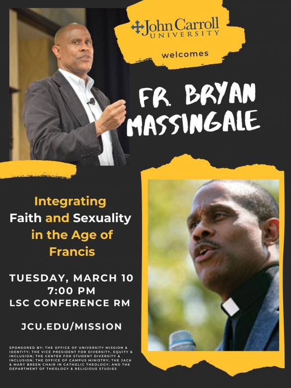 Image of promotional poster for Fr. Bryan Massingale lecture March 10, 2020 at John Carroll
