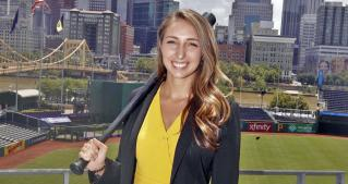 Jessica Cook stands at PNC Park in Pittsburgh