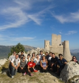 Group of students who participated in the Vatican City fall program, atop Rocca Calascio, a mountaintop fortress or rocca in the Province of L'Aquila in Abruzzo, Italy.