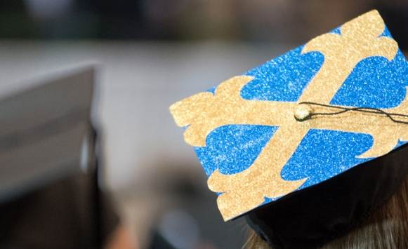 image of top of graduate cap on a female graduate