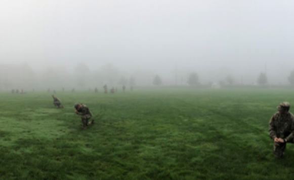 ROTC cadets training in fog on JCU campus quad