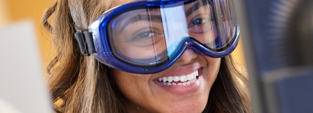Picture of a JCU student wearing protective goggles