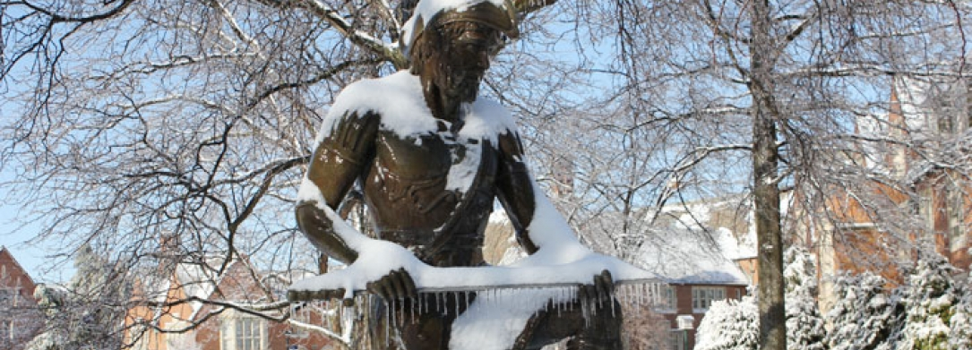 JCU Statue during winter
