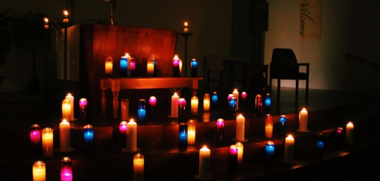 Candles in the chapel.