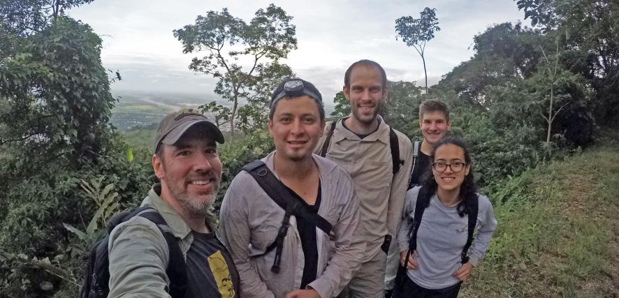 Watling and his research group stand in the Amazon