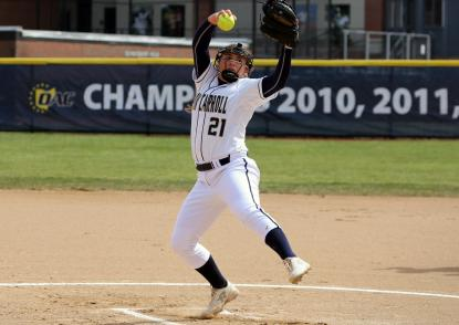 Jenn Patterson throws a softball off the pitcher's mound