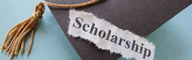 Scholarship text over a mortar board