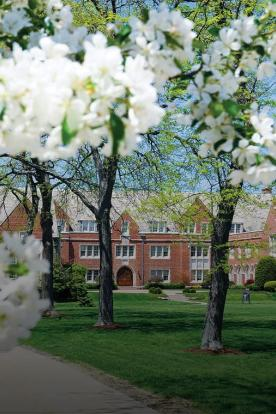 rodman hall and spring flowers